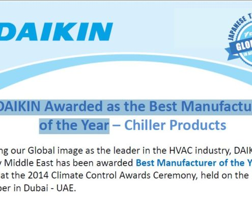 DAIKIN Awarded as the Best Manufacture of the Year